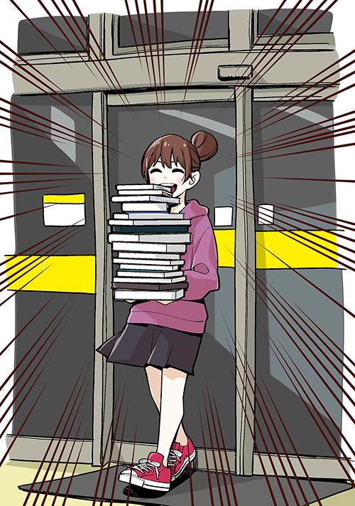 ブックオフから大量の本を持ってでてくる人のイラスト