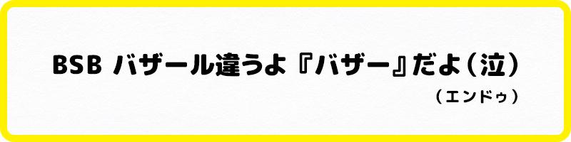 ・BSB バザール違うよ『バザー』だよ(泣)(エンドゥ)