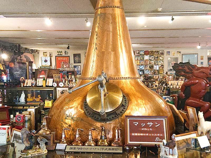 天領日田洋酒博物館に置かれている、ニッカウヰスキーのポットスチル。